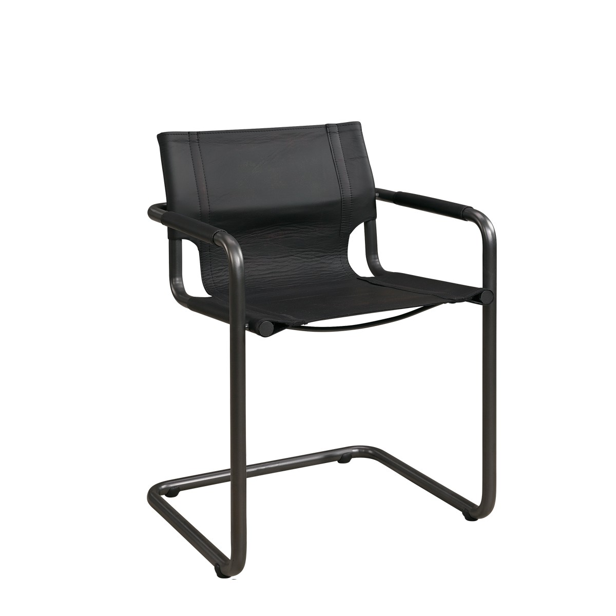 GIANNI Armchair natural iron/matt black taupe leather