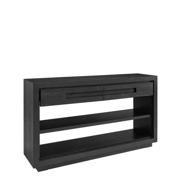 HUNTER console w/2 drawers black oak