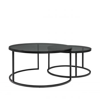 REEVES coffee table 2-set glass smoke grey
