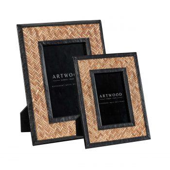 FABRIANO Photo frame 2-set rattan/ leather black