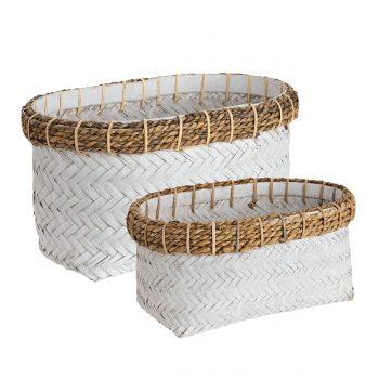 DAVAO Rect basket 2-set white